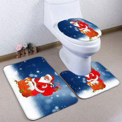 Santa Claus 3PCS Christmas Toilet Bathroom Rugs Set - Blue