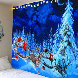 Snowfield Forest Santa Claus Reindeer Cart Print Tapestry -