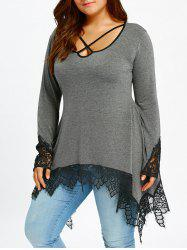 Lace Trim Plus Size Sharkbite Tunic T-shirt - Gray - 2xl
