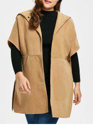 Plus Size Hooded Faux Suede Poncho Coat - CAMEL 2XL