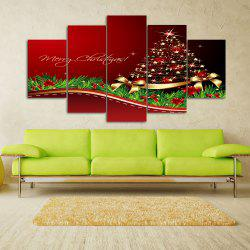 Merry Christmas Tree Print Unframed Split Canvas Paintings - RED 1PC:10*24,2PCS:10*16,2PCS:10*20 INCH( NO FRAME )