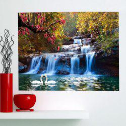 Multifunction Swans Pool Waterfall Patterned Wall Art Painting -