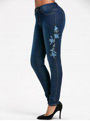 Floral Embroidered Skinny High Waisted Jeans - BLUE S
