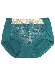 Lace Panel Panties - BLACKISH GREEN ONE SIZE