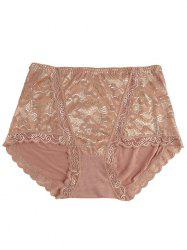 Full Coverage Panties with Lace - COFFEE ONE SIZE
