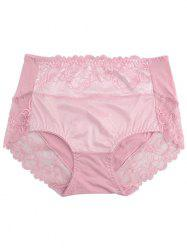 Lace Insert Lingerie Panties - PINK ONE SIZE
