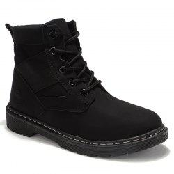 Stitching Splicing Ankle Boots - BLACK 39