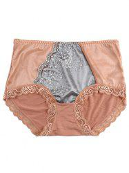 Panties with Lace Trim - LIGHT COFFEE ONE SIZE