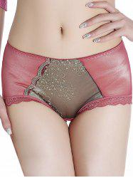 Panties with Lace Trim - RUSSET-RED ONE SIZE