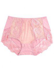 Lace Panel Lingerie Panties - PINK ONE SIZE