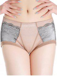 Lace Panel Full Coverage Panties - COFFEE ONE SIZE
