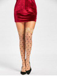 Overknee Polka Dot Lace Hem Stockings - COMPLEXION ONE SIZE