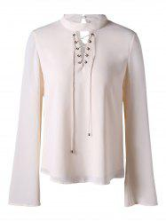 Lace Up Mock Neck Blouse - OFF-WHITE 2XL