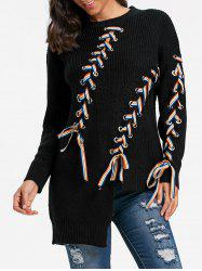 Slim Asymmetric Lace Up Sweater - Noir TAILLE MOYENNE
