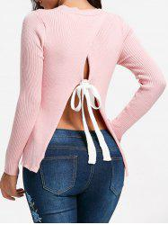 Ribbed Back Slit Sweater -