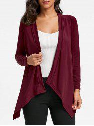 Draped Asymmetrical Open Front Cardigan - WINE RED S