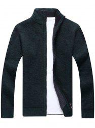 Zip Up Knitted Cardigan Sweater - BLACKISH GREEN 3XL