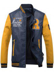 Graphic Embroidered PU Leather Baseball Jacket - ORANGE YELLOW 2XL