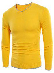 Contrast Trim V Neck Sweater - YELLOW XL