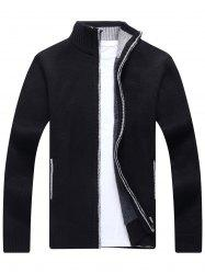 Zip Up Knitted Cardigan Sweater - BLACK M