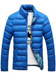 Casual Zip Up Padded Jacket - BLUE 4XL