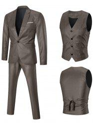 Lapel One-button Three Piece Business Suit - GOLDEN XL