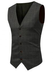 Belt Design V Neck Checked Waistcoat - ARMY GREEN L