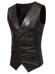 Belt Design V Neck PU Leather Waistcoat - LIGHT BROWN 2XL