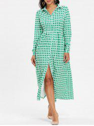 Button Down Maxi Shirt Dress - GREEN XL