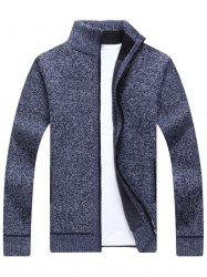 Zip Up Knitted Cardigan Sweater - CADETBLUE 3XL