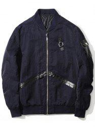 Zip Up PU Panel Bomber Jacket - PURPLISH BLUE M