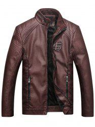 Embroidered Fleece Pleat PU Leather Jacket - COFFEE 3XL