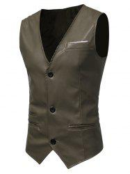 Edging Belt Design PU Leather Waistcoat - ARMY GREEN L