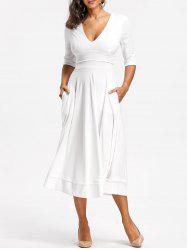 Plunged Tea Length Prom Dress - WHITE XL