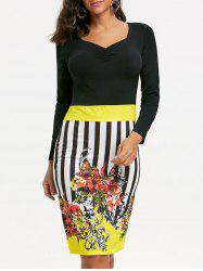 Stripe Floral Bodycon Dress - YELLOW M