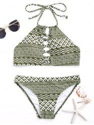 Tribal Print Halter Bikini Swimwear - COLORMIX L