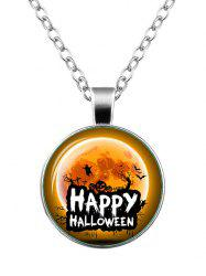 Happy Halloween Pumpkin Ghost Bat Necklace - SILVER