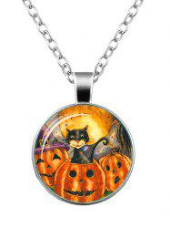 Funny Halloween Cat Pumpkin Necklace - Silver