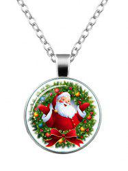 Christmas Santa Wreath Bowknot Pendant Necklace -
