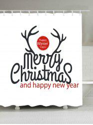 Waterproof Christmas Letter Print Bath Curtain - WHITE W59 INCH * L71 INCH