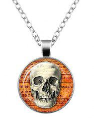 Skull Cameo Halloween Charm Necklace - SILVER