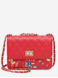 Quilted Animal Print Crossbody Bag - RED