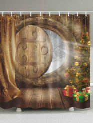 Christmas Tree Wood Door Bath Curtain - WOOD COLOR W59 INCH * L71 INCH