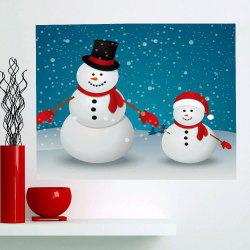 Multifunction Double Christmas Snowmen Patterned Wall Art Painting - SEA BLUE 1PC:24*35 INCH( NO FRAME )