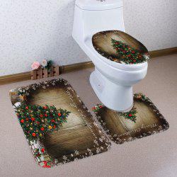 Christmas Tree Wood Pattern 3 Pcs Bath Mat Toilet Mat - COLORMIX