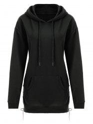 Plus Size Drop Shoulder Lace Up Longline Hoodie - Noir 5XL