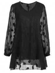 Plus Size Sheer Leaf V Neck Blouse - BLACK 5XL
