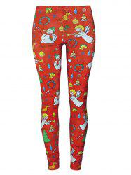 Snowman Angel Christmas Tree Party Leggings - RED M