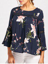 Floral Print Lace Insert Bell Sleeve Blouse - BLUE L