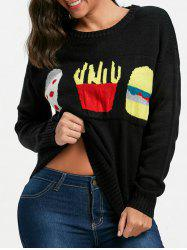 Pullover Food Jacquard Sweater - BLACK ONE SIZE
